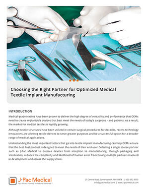 Choosing the Right Partner for Optimized Medical Textile Implant Manufacturing