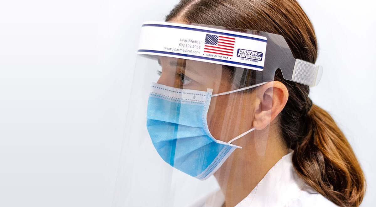 Nurse wearing J-shield medical face mask