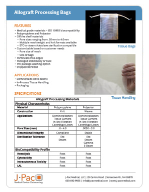 Allograft Processing Bags