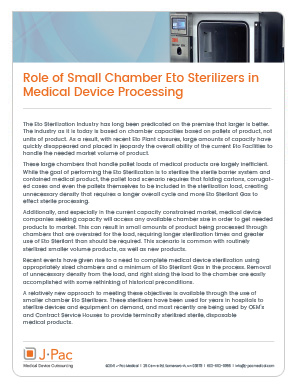 Role of Small Chamber Eto Sterilizers in Medical Device Processing